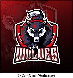 esport, logo, wilk, maskotka, projektować