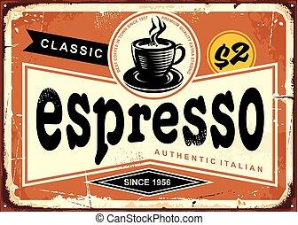 espresso, znak, rocznik wina, autentyczny, włoski, cyna