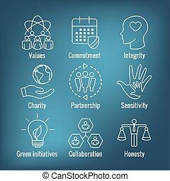 etc, integralność, uczciwość, odpowiedzialność, współpraca, komplet, ikona, szkic, towarzyski