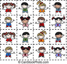 etniczny, mieszany, szczęśliwy, dzieciaki