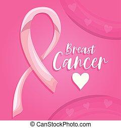 etykieta, wstążka, ozdobny, rak, różowy