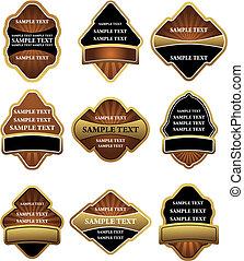 etykiety, brązowy, komplet, złoty