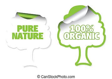 etykiety, drzewo, komplet, organiczny