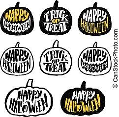 etykiety, halloween, wektor, projektować, albo, symbole, szczęśliwy