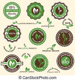 etykiety, organiczny, zbiór, ikony