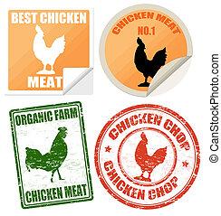 etykiety, pieczęcie, komplet, mięso, kurczak