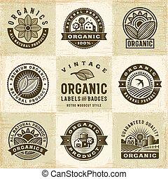 etykiety, rocznik wina, komplet, organiczny, symbole