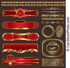 etykiety, złoty, komplet, wektor, ułożony
