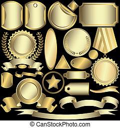 etykiety, złoty, (vector), komplet, srebrzysty