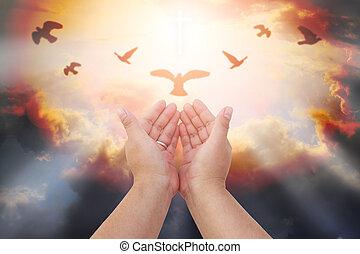 eucharystia, otwarty, dłoń, ludzki, bóg, katolik, do góry, repent, chrześcijanin, wielkanoc, porcja, pojęcie, wielki post, siła robocza, pamięć, tło., pray., błogosławić, worship., terapia