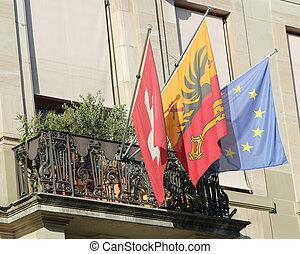 europa, bandery, szwajcarski, genewa