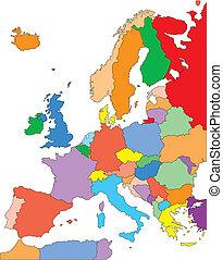 europa, editable, kraje