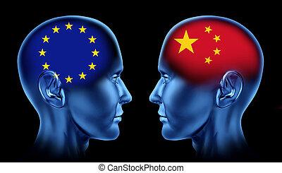 europa, porcelana, handel