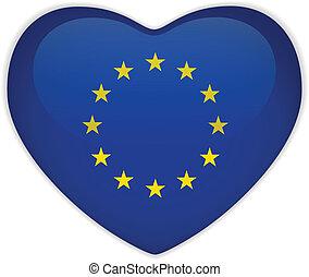 europa, serce, bandera, połyskujący, guzik