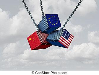 europa, zjednoczony, handel, stany, porcelana, wojna