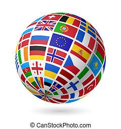 europe., bandery, globe.
