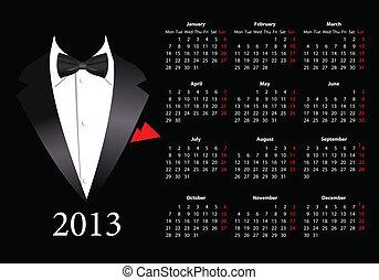 europejczyk, garnitur, kalendarz, 2013, wektor, elegancki