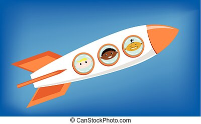 europejczyk, rakieta, przestrzeń, przelotny, -, deska, ilustracja, wektor, astronauci, afrykanin, asian