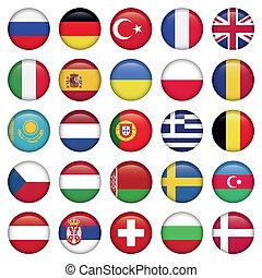 europejskie bandery, okrągły, ikony