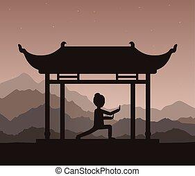 evening., spełnianie, albo, taijiquan, wykonuje, dziewczyna, qigong