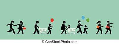 event., zakupy, karnawał, zbyt, klienci, iść, szczęśliwy
