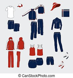 everyda, damski, clothing., mężczyźni, kostiumy, komplet, błękitny, czerwony