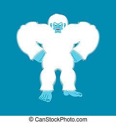 evil., bigfoot, wektor, yeti, aggressive., bałwan, ilustracja, angry., abominable