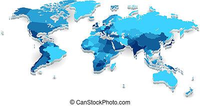 extruded, kraje, światowa mapa