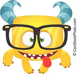 eyeglasses., ilustracja, halloween, chodząc, potwór, wektor, zabawny, rysunek, śmiech