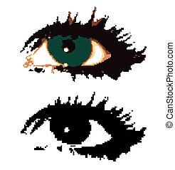 eyes., kobieta, wektor, pixelated