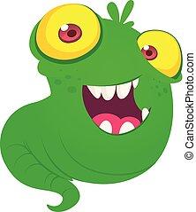 eyes., potwór, sprytny, ilustracja, przelotny, wektor, cielna, zielony, żółty