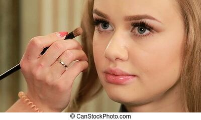 eyeshadow, powieka, artysta, makijaż, samica, zwracający się, wzór