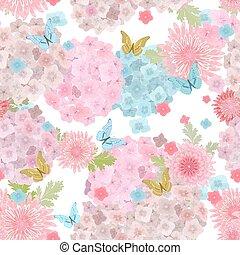f, butterflies., seamless, struktura, delikatny, kwiatowy, kwiaty