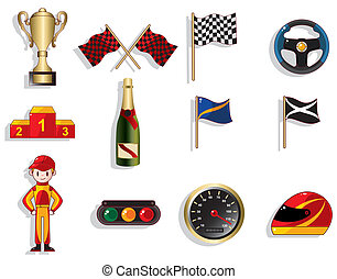 f1, komplet, wóz biegi, rysunek, ikona