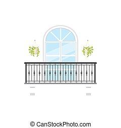 fałszywy, wazony, balustrada, kolumny, balkon
