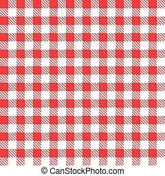 fabric., klatkowy, illustration., wektor, czerwony