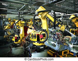 fabryka, wóz, spawalniczy, roboty