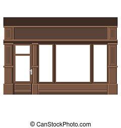 facade., windows., shopfront, drewno, vector., czysty, biały, zaopatrywać