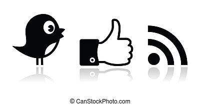 facebook, świergot, czarnoskóry, połyskujący, rss