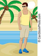 facet, plaża, morze