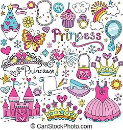 fairytale, wektor, tiara, komplet, księżna