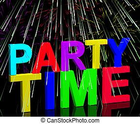 fajerwerki, słowo, pokaz, disco, clubbing, życie nocne, czas, partia, albo