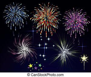 fajerwerki, sky., wektor, noc, święto, pozdrawiać