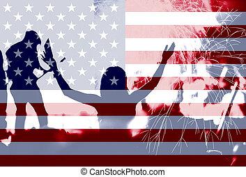 fajerwerki, tłum, dzień, bandera, ameryka, niezależność
