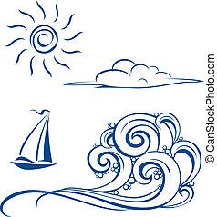 fale, chmury, łódka, słońce