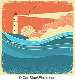 fale, motyw morski, morze, rocznik wina, natura, afisz, lighthouse.
