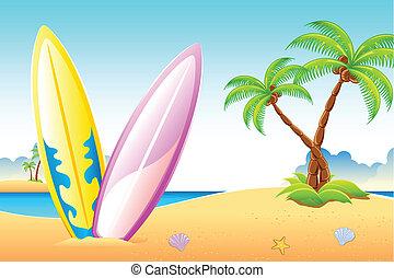 fale przybrzeżne, plaża, deska, morze