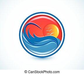 fale, tropikalny raj, plaża, lato, słoneczny, logo