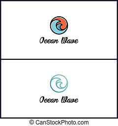 falistość ocean, logo, projektować, nowoczesny