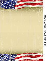 falować, afisz, amerykanka, grunge, bandera